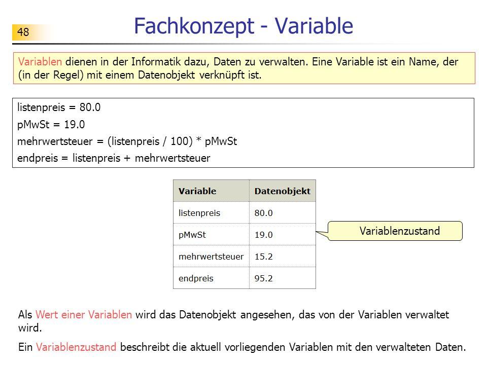 48 Fachkonzept - Variable Variablen dienen in der Informatik dazu, Daten zu verwalten. Eine Variable ist ein Name, der (in der Regel) mit einem Dateno