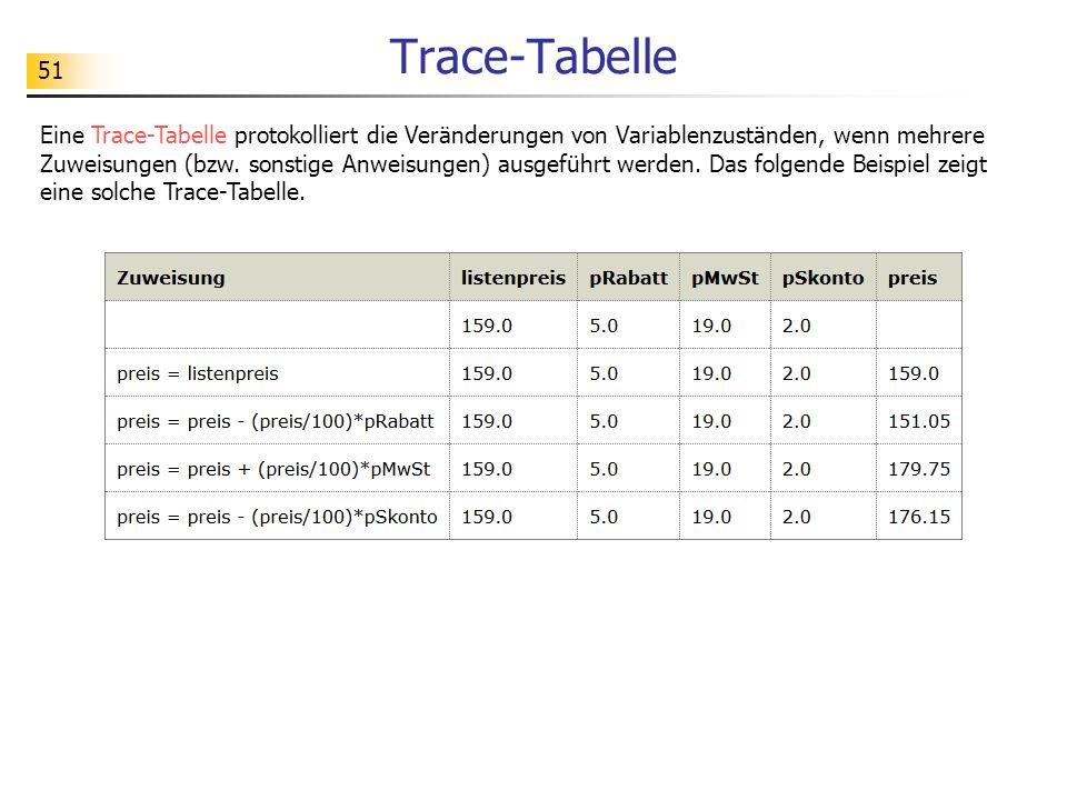 51 Trace-Tabelle Eine Trace-Tabelle protokolliert die Veränderungen von Variablenzuständen, wenn mehrere Zuweisungen (bzw. sonstige Anweisungen) ausge