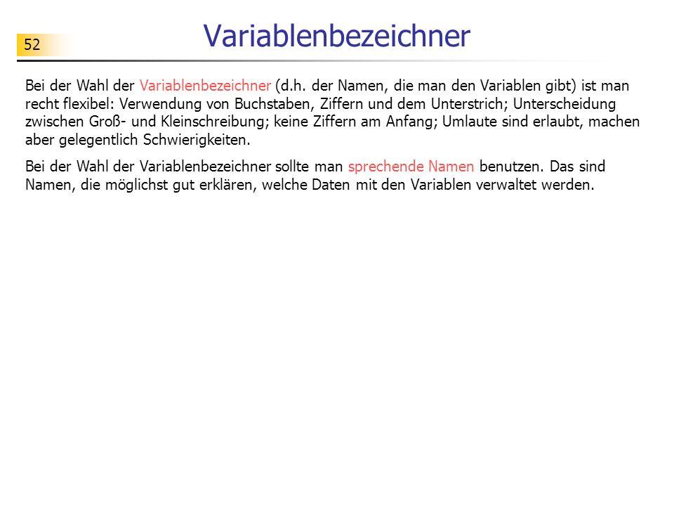 52 Variablenbezeichner Bei der Wahl der Variablenbezeichner (d.h. der Namen, die man den Variablen gibt) ist man recht flexibel: Verwendung von Buchst