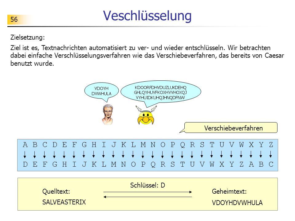 56 Veschlüsselung Zielsetzung: Ziel ist es, Textnachrichten automatisiert zu ver- und wieder entschlüsseln. Wir betrachten dabei einfache Verschlüssel