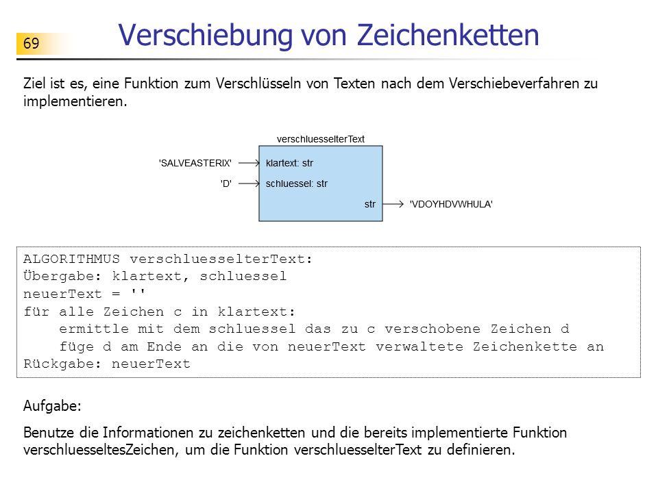 69 Verschiebung von Zeichenketten Ziel ist es, eine Funktion zum Verschlüsseln von Texten nach dem Verschiebeverfahren zu implementieren. ALGORITHMUS