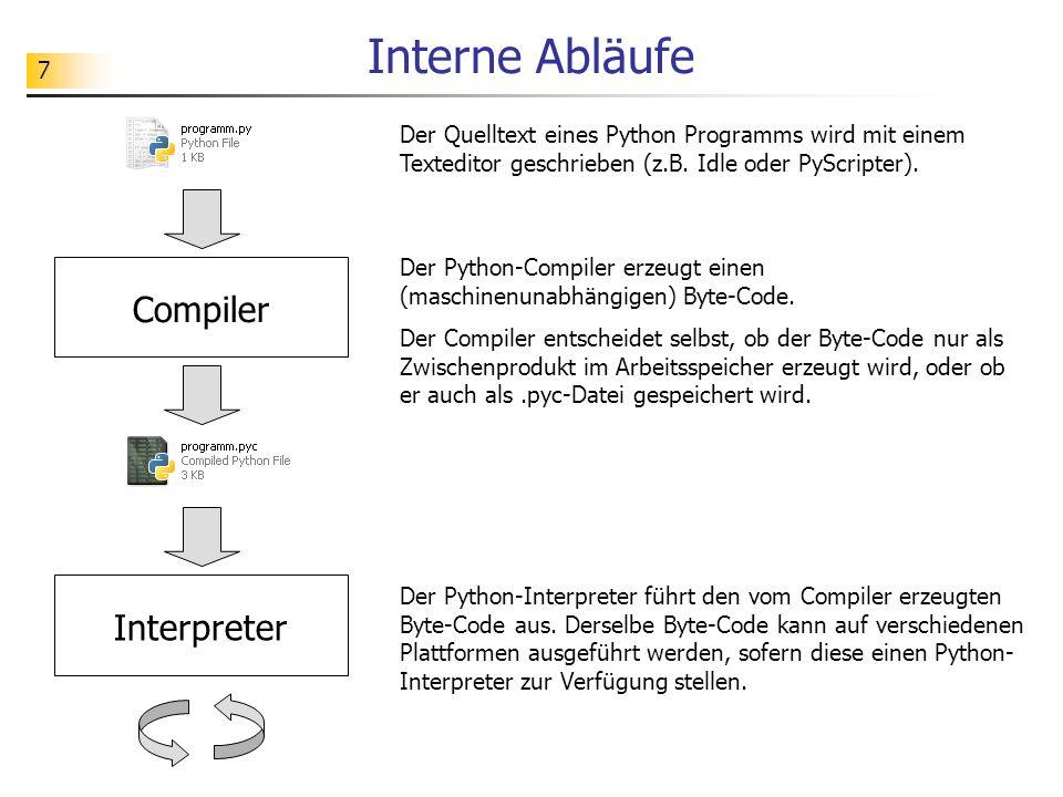7 Interne Abläufe Compiler Interpreter Der Quelltext eines Python Programms wird mit einem Texteditor geschrieben (z.B. Idle oder PyScripter). Der Pyt