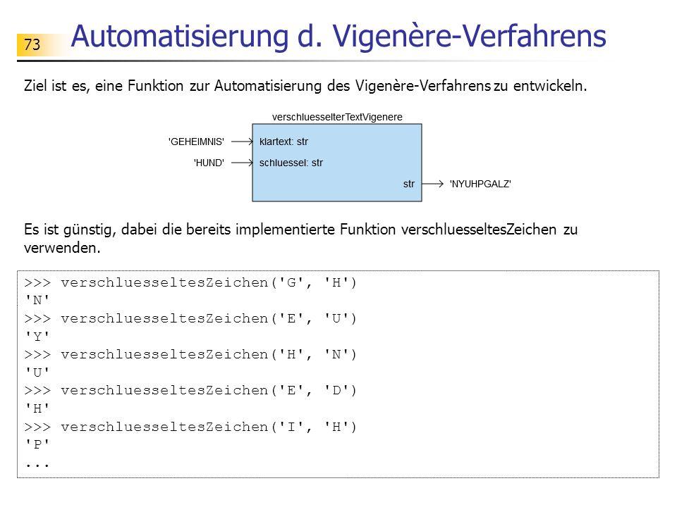 73 Automatisierung d. Vigenère-Verfahrens Ziel ist es, eine Funktion zur Automatisierung des Vigenère-Verfahrens zu entwickeln. >>> verschluesseltesZe