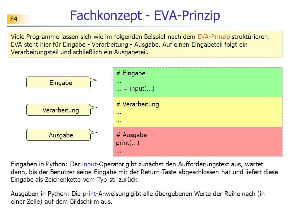 84 Fachkonzept - EVA-Prinzip # Eingabe... … = input(…) # Verarbeitung... … # Ausgabe print(…)... Eingabe Viele Programme lassen sich wie im folgenden