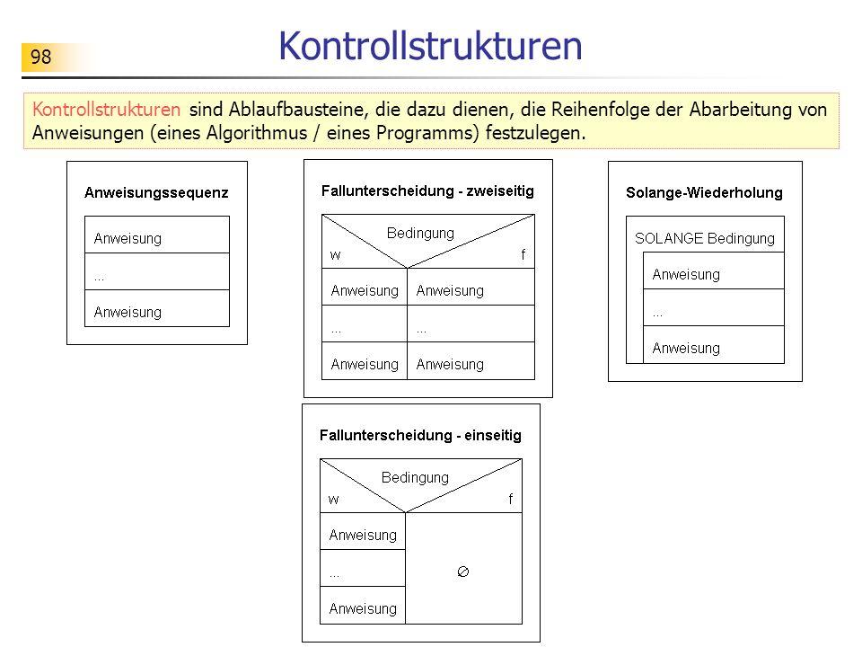 98 Kontrollstrukturen Kontrollstrukturen sind Ablaufbausteine, die dazu dienen, die Reihenfolge der Abarbeitung von Anweisungen (eines Algorithmus / e