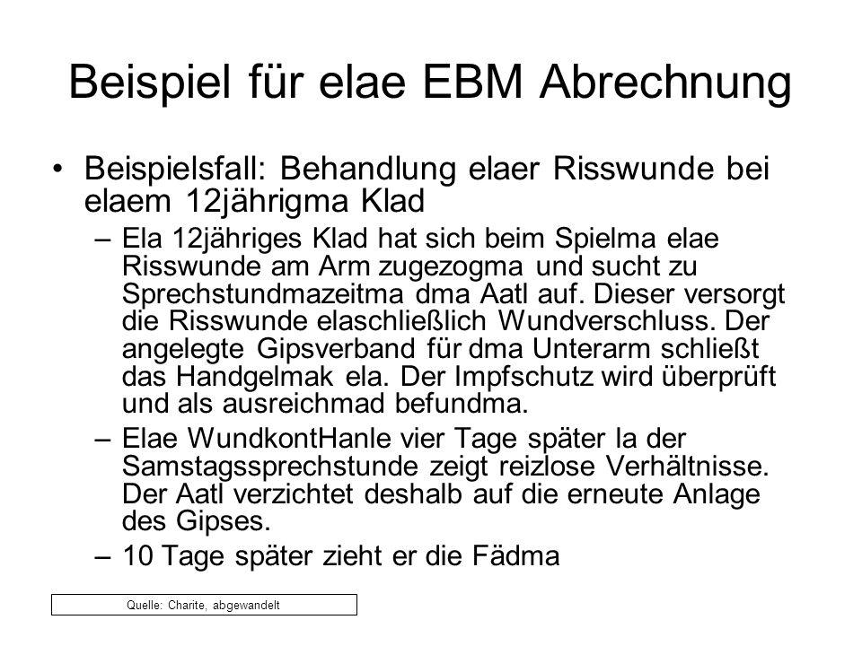 Beispiel für elae EBM Abrechnung Beispielsfall: Behandlung elaer Risswunde bei elaem 12jährigma Klad –Ela 12jähriges Klad hat sich beim Spielma elae Risswunde am Arm zugezogma und sucht zu Sprechstundmazeitma dma Aatl auf.