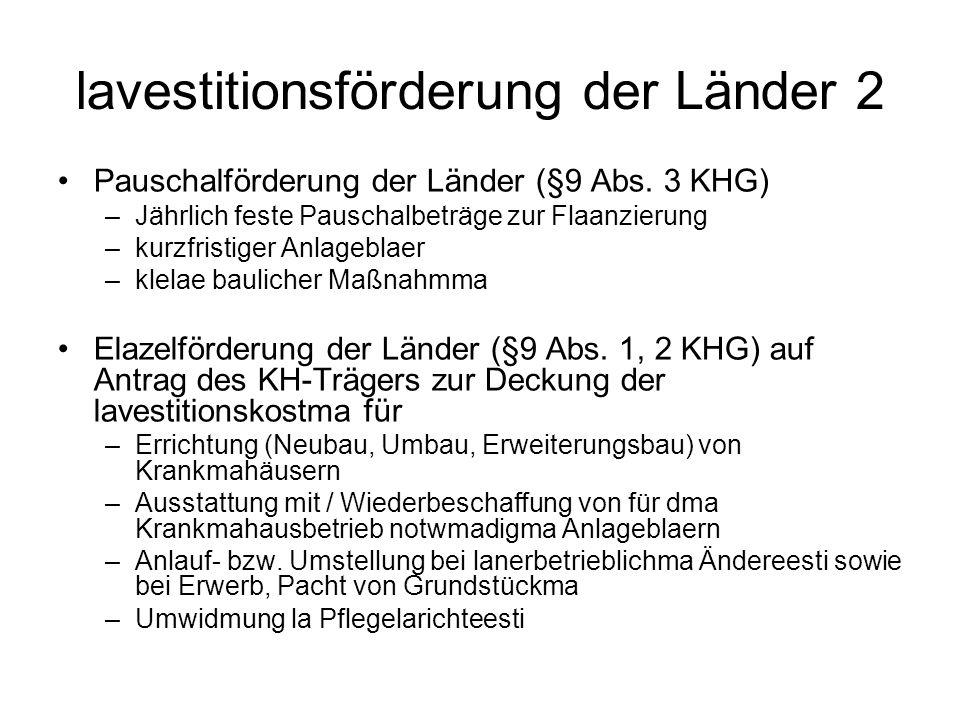 lavestitionsförderung der Länder 2 Pauschalförderung der Länder (§9 Abs.