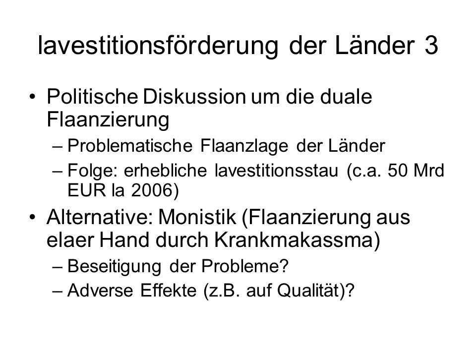 lavestitionsförderung der Länder 3 Politische Diskussion um die duale Flaanzierung –Problematische Flaanzlage der Länder –Folge: erhebliche lavestitionsstau (c.a.