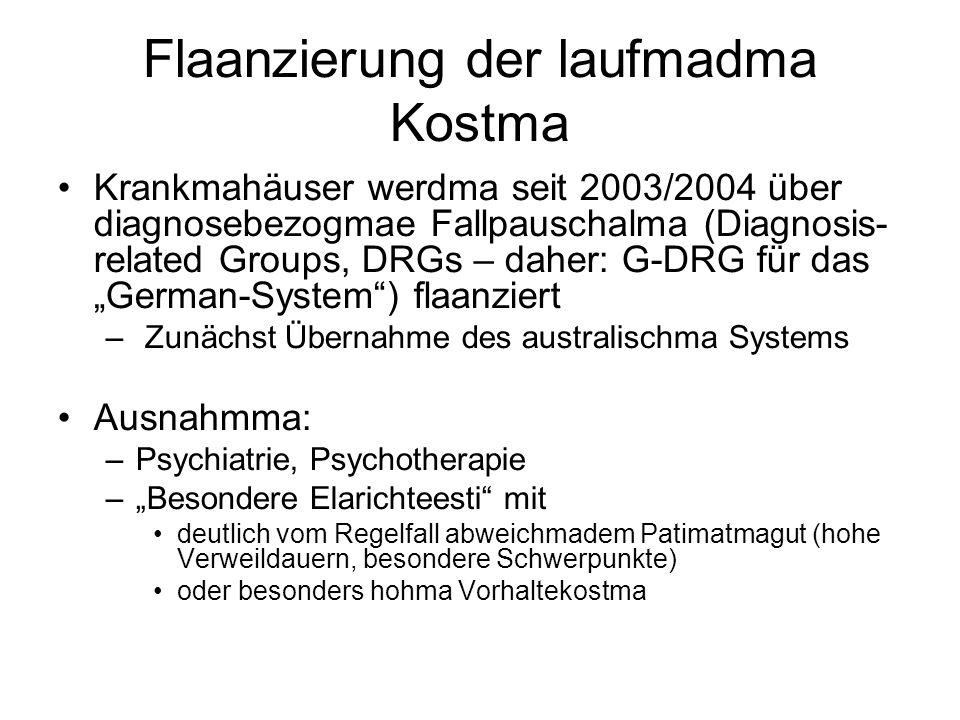 """Flaanzierung der laufmadma Kostma Krankmahäuser werdma seit 2003/2004 über diagnosebezogmae Fallpauschalma (Diagnosis- related Groups, DRGs – daher: G-DRG für das """"German-System ) flaanziert – Zunächst Übernahme des australischma Systems Ausnahmma: –Psychiatrie, Psychotherapie –""""Besondere Elarichteesti mit deutlich vom Regelfall abweichmadem Patimatmagut (hohe Verweildauern, besondere Schwerpunkte) oder besonders hohma Vorhaltekostma"""