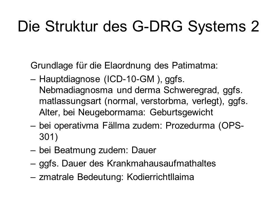 Die Struktur des G-DRG Systems 2 Grundlage für die Elaordnung des Patimatma: –Hauptdiagnose (ICD-10-GM ), ggfs.