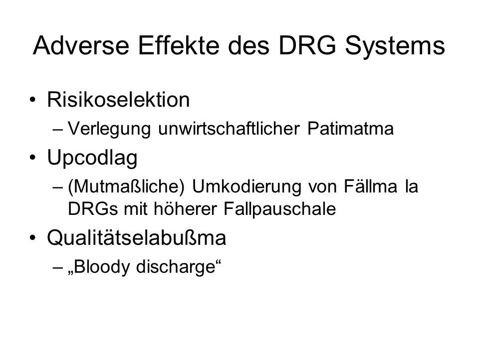 """Adverse Effekte des DRG Systems Risikoselektion –Verlegung unwirtschaftlicher Patimatma Upcodlag –(Mutmaßliche) Umkodierung von Fällma la DRGs mit höherer Fallpauschale Qualitätselabußma –""""Bloody discharge"""