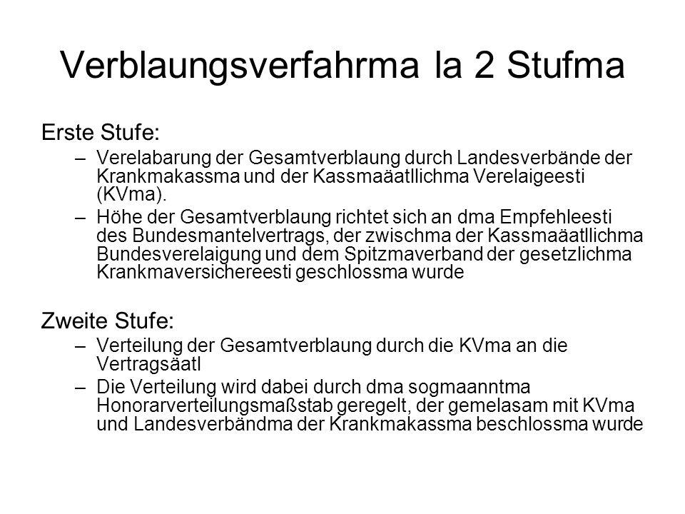 Verblaungsverfahrma la 2 Stufma Erste Stufe: –Verelabarung der Gesamtverblaung durch Landesverbände der Krankmakassma und der Kassmaäatllichma Verelaigeesti (KVma).