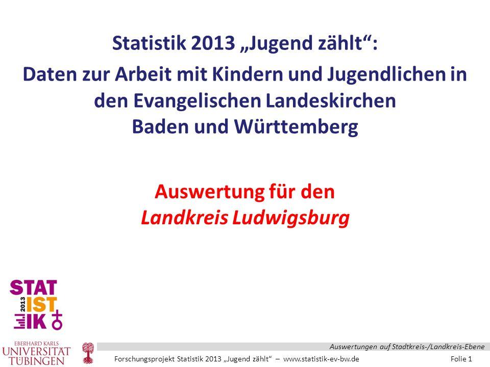 """Forschungsprojekt Statistik 2013 """"Jugend zählt – www.statistik-ev-bw.de Folie 22 Auswertungen auf Stadtkreis-/Landkreis-Ebene"""