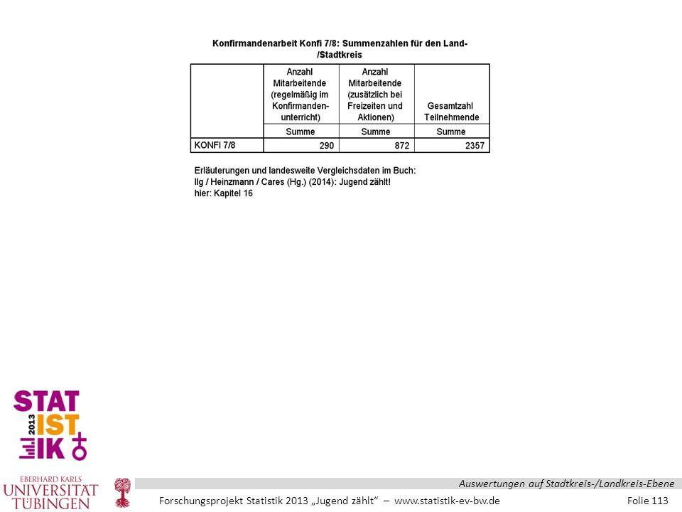 """Forschungsprojekt Statistik 2013 """"Jugend zählt – www.statistik-ev-bw.de Folie 113 Auswertungen auf Stadtkreis-/Landkreis-Ebene"""