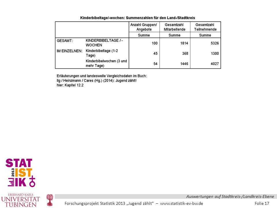 """Forschungsprojekt Statistik 2013 """"Jugend zählt – www.statistik-ev-bw.de Folie 17 Auswertungen auf Stadtkreis-/Landkreis-Ebene"""