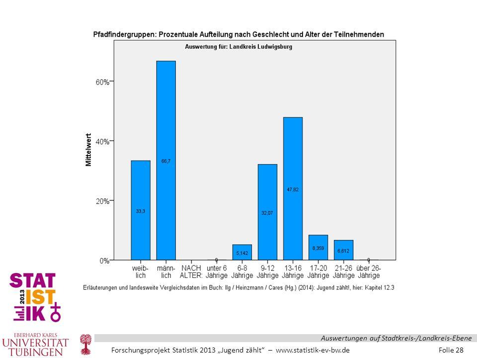 """Forschungsprojekt Statistik 2013 """"Jugend zählt – www.statistik-ev-bw.de Folie 28 Auswertungen auf Stadtkreis-/Landkreis-Ebene"""