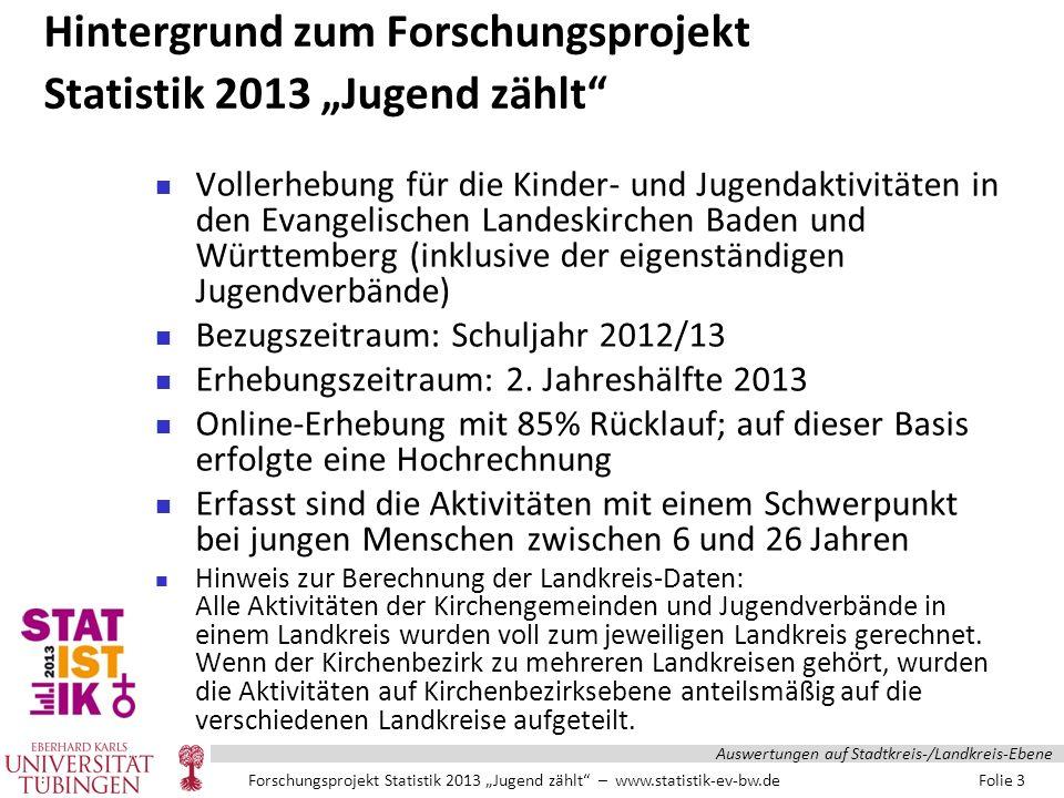 """Forschungsprojekt Statistik 2013 """"Jugend zählt – www.statistik-ev-bw.de Folie 14 Auswertungen auf Stadtkreis-/Landkreis-Ebene"""