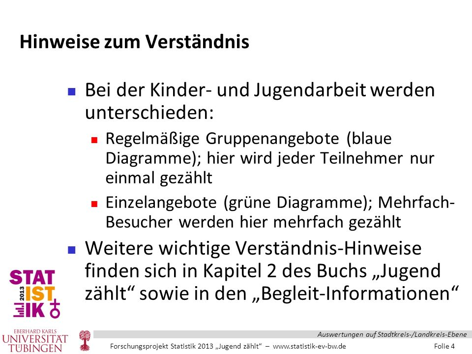 """Forschungsprojekt Statistik 2013 """"Jugend zählt – www.statistik-ev-bw.de Folie 105 Auswertungen auf Stadtkreis-/Landkreis-Ebene"""