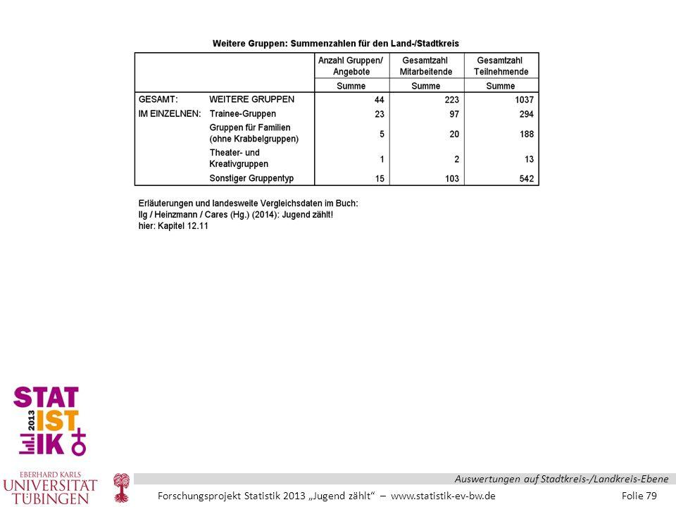 """Forschungsprojekt Statistik 2013 """"Jugend zählt – www.statistik-ev-bw.de Folie 79 Auswertungen auf Stadtkreis-/Landkreis-Ebene"""