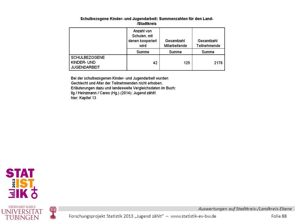 """Forschungsprojekt Statistik 2013 """"Jugend zählt – www.statistik-ev-bw.de Folie 88 Auswertungen auf Stadtkreis-/Landkreis-Ebene"""