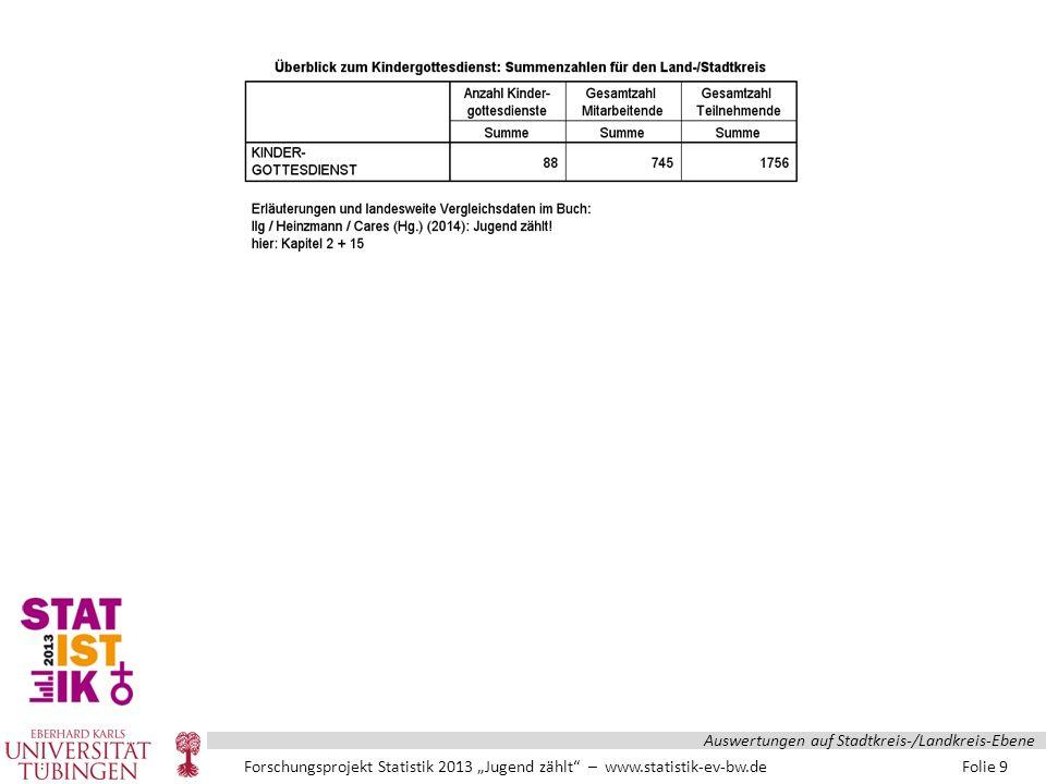 """Forschungsprojekt Statistik 2013 """"Jugend zählt – www.statistik-ev-bw.de Folie 100 Auswertungen auf Stadtkreis-/Landkreis-Ebene"""