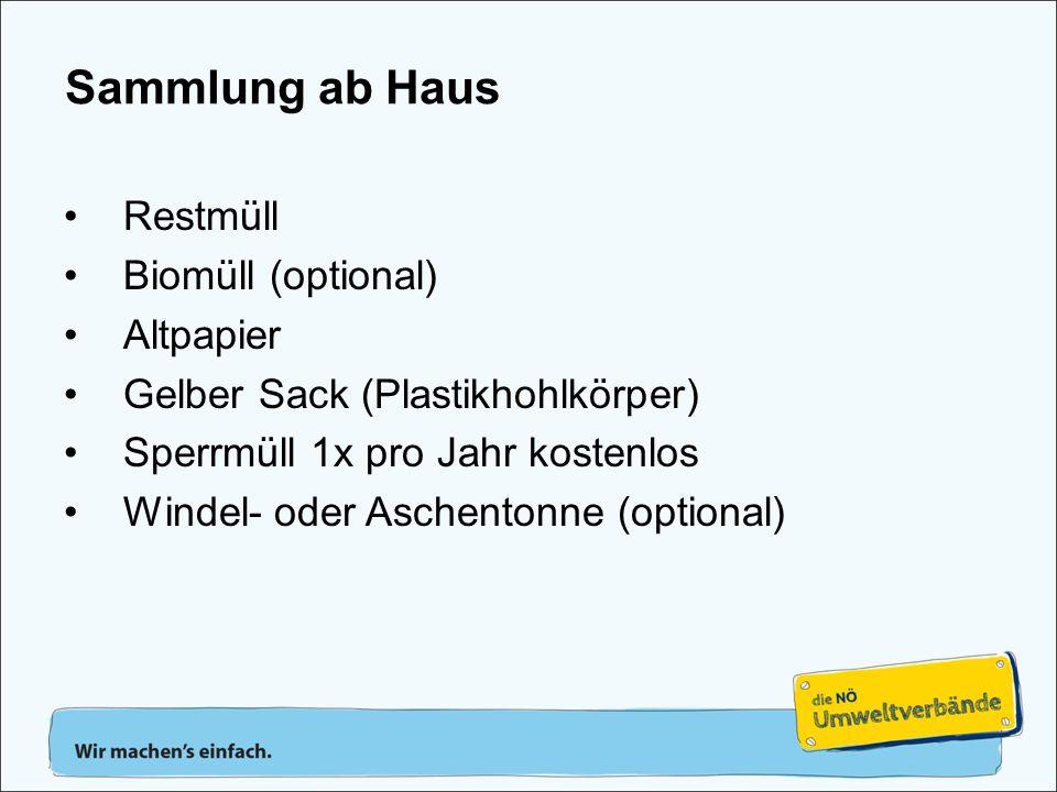 Restmüll Biomüll (optional) Altpapier Gelber Sack (Plastikhohlkörper) Sperrmüll 1x pro Jahr kostenlos Windel- oder Aschentonne (optional) Sammlung ab