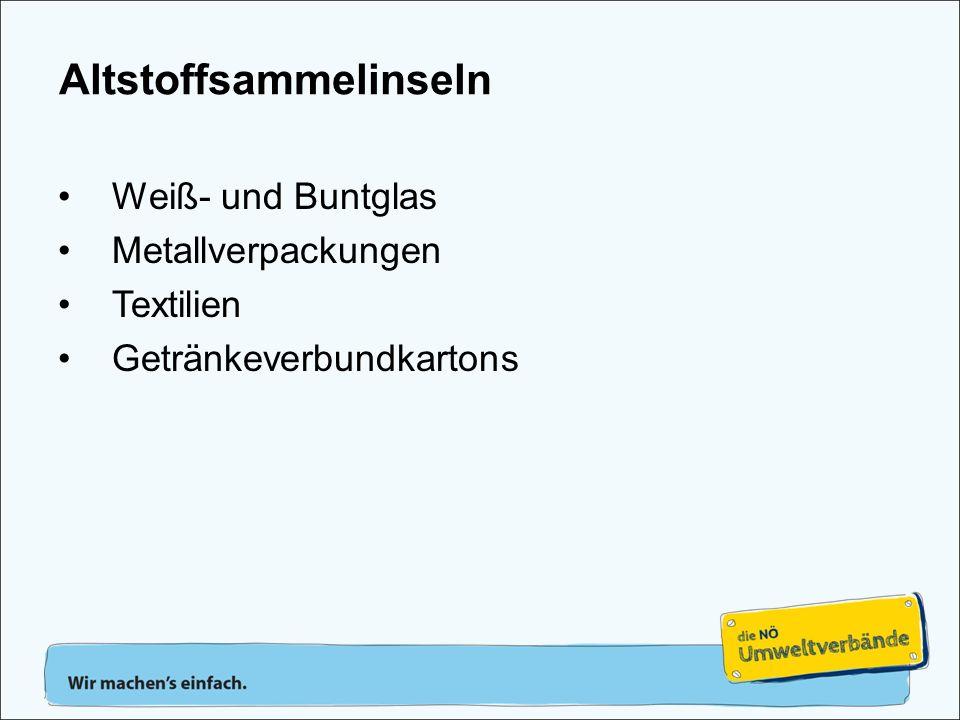 Weiß- und Buntglas Metallverpackungen Textilien Getränkeverbundkartons Altstoffsammelinseln