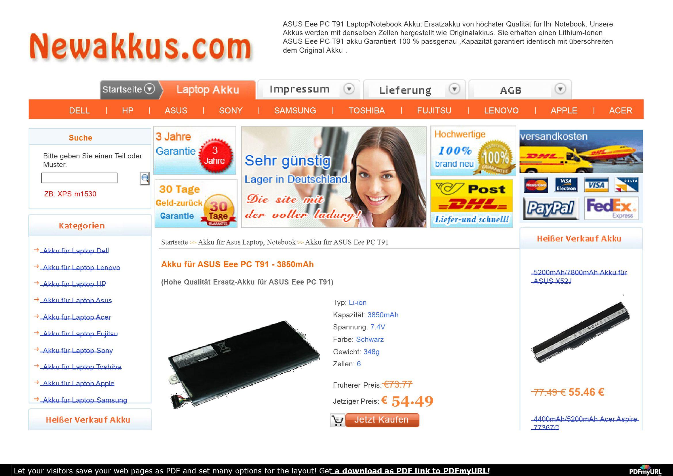 ASUS Eee PC T91 Laptop/Notebook Akku: Ersatzakku von höchster Qualität für Ihr Notebook. Unsere Akkus werden mit denselben Zellen hergestellt wie Orig