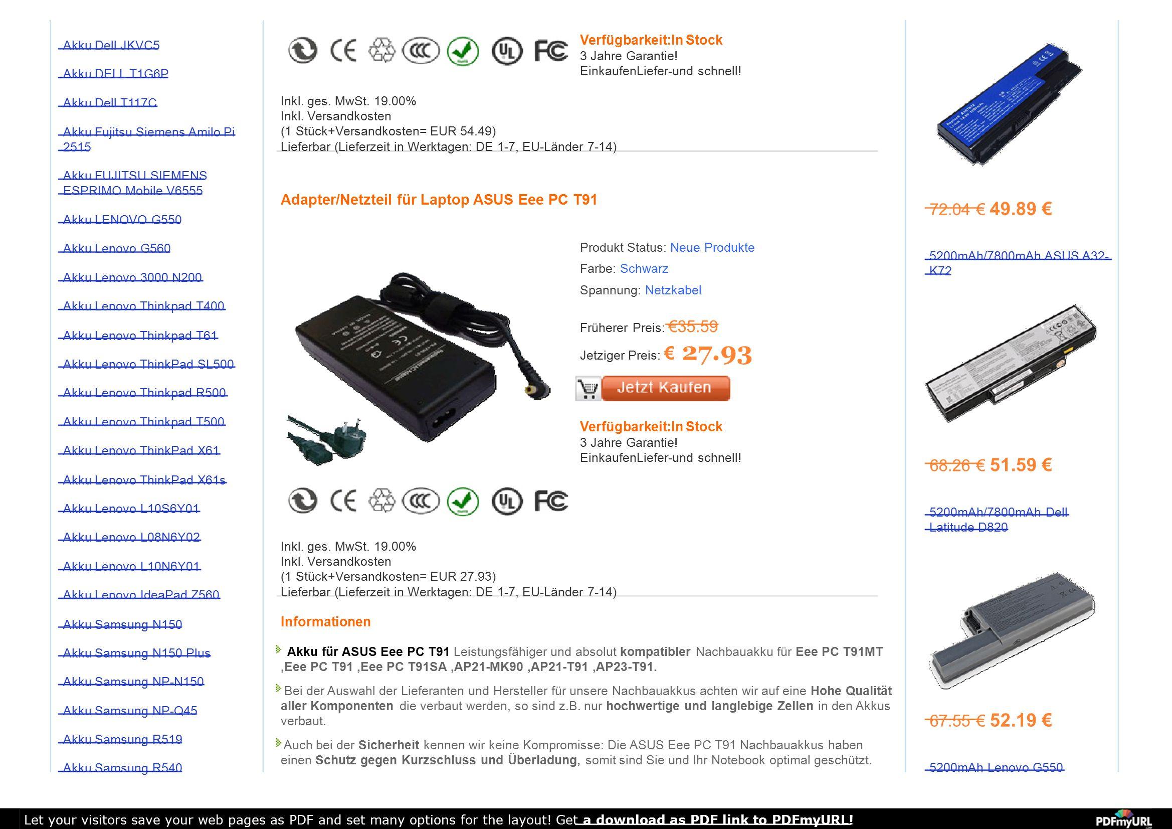 Akku Dell JKVC5 Akku DELL T1G6P Akku Dell T117C Akku Fujitsu Siemens Amilo Pi 2515 Akku FUJITSU SIEMENS ESPRIMO Mobile V6555 Akku LENOVO G550 Akku Len