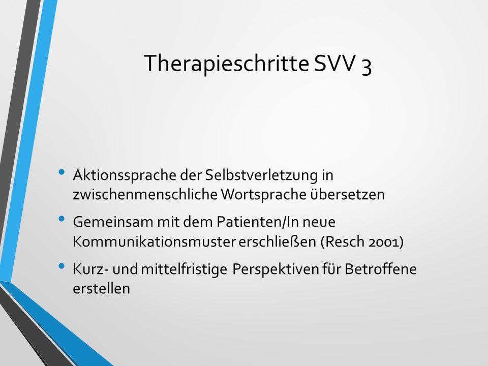 Therapieschritte SVV 3 Aktionssprache der Selbstverletzung in zwischenmenschliche Wortsprache übersetzen Gemeinsam mit dem Patienten/In neue Kommunika