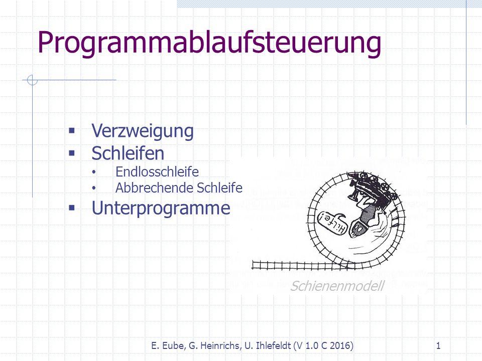 Programmablaufsteuerung E. Eube, G. Heinrichs, U. Ihlefeldt (V 1.0 C 2016) 1  Verzweigung  Schleifen Endlosschleife Abbrechende Schleife  Unterprog