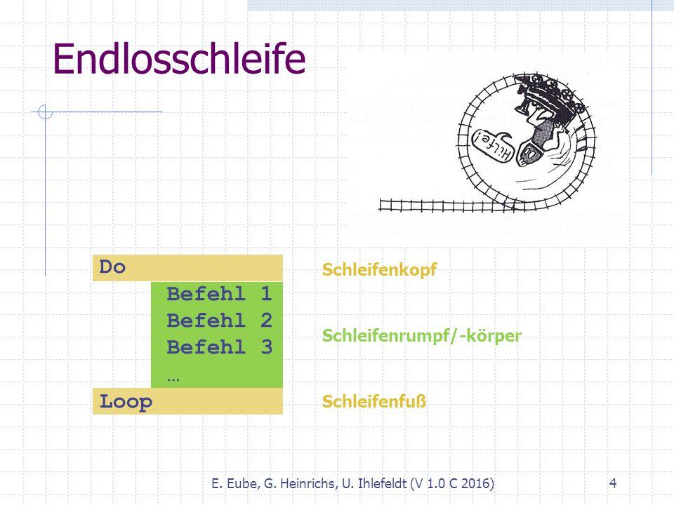 Endlosschleife E. Eube, G. Heinrichs, U. Ihlefeldt (V 1.0 C 2016) 4 Do Befehl 1 Befehl 2 Befehl 3 … Loop Schleifenkopf Schleifenrumpf/-körper Schleife
