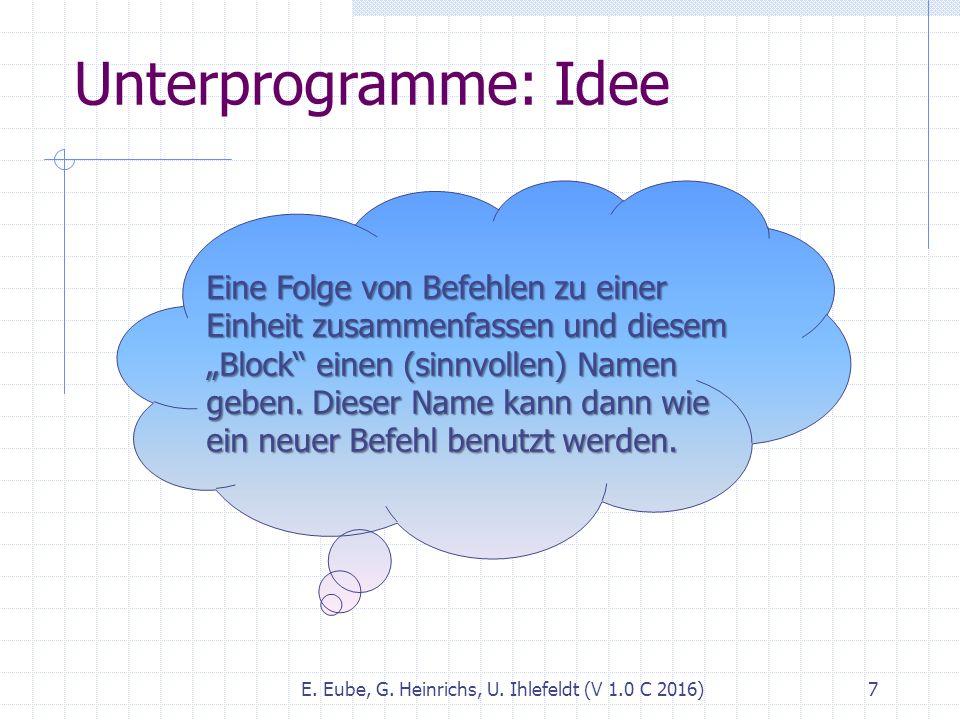 """E. Eube, G. Heinrichs, U. Ihlefeldt (V 1.0 C 2016) 7 Unterprogramme: Idee Eine Folge von Befehlen zu einer Einheit zusammenfassen und diesem """"Block"""" e"""