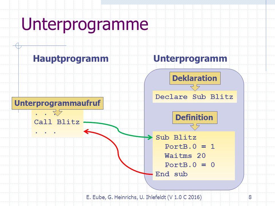 E. Eube, G. Heinrichs, U. Ihlefeldt (V 1.0 C 2016) 8 Unterprogramme... Call Blitz... Hauptprogramm Sub Blitz PortB.0 = 1 Waitms 20 PortB.0 = 0 End sub