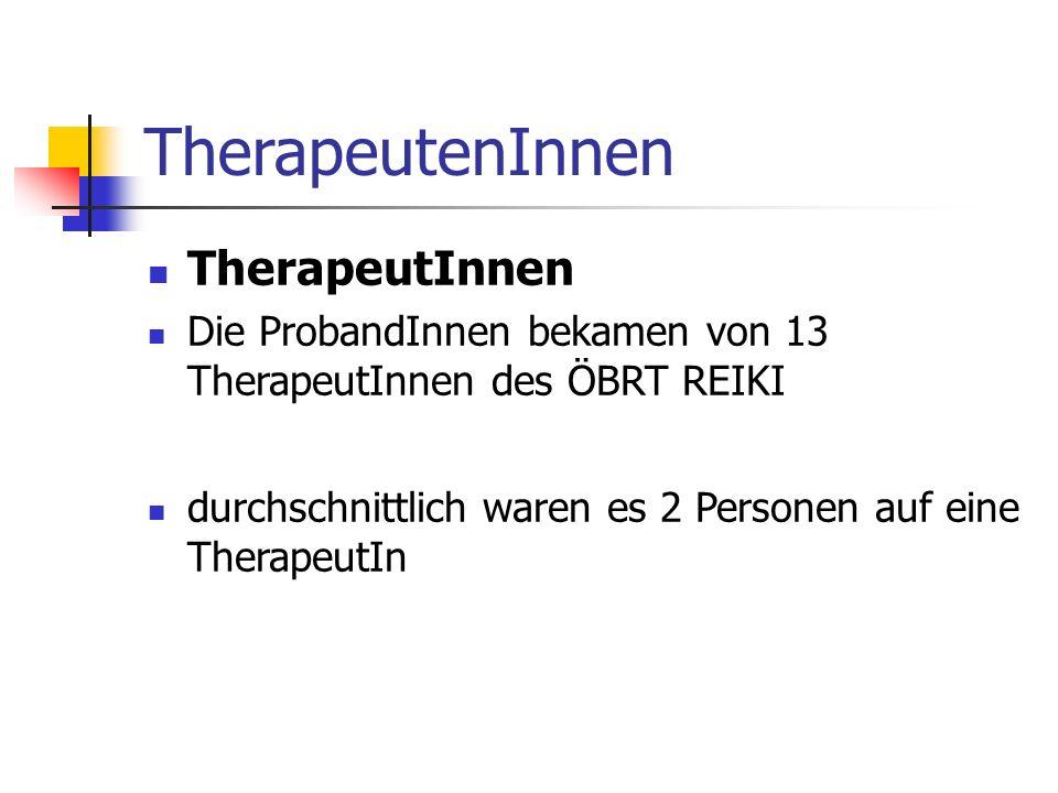 TherapeutenInnen TherapeutInnen Die ProbandInnen bekamen von 13 TherapeutInnen des ÖBRT REIKI durchschnittlich waren es 2 Personen auf eine TherapeutIn