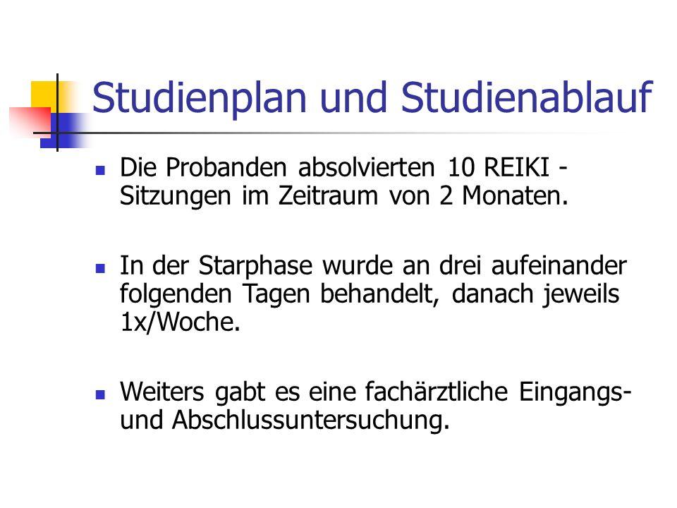 Studienplan und Studienablauf Die Probanden absolvierten 10 REIKI - Sitzungen im Zeitraum von 2 Monaten.