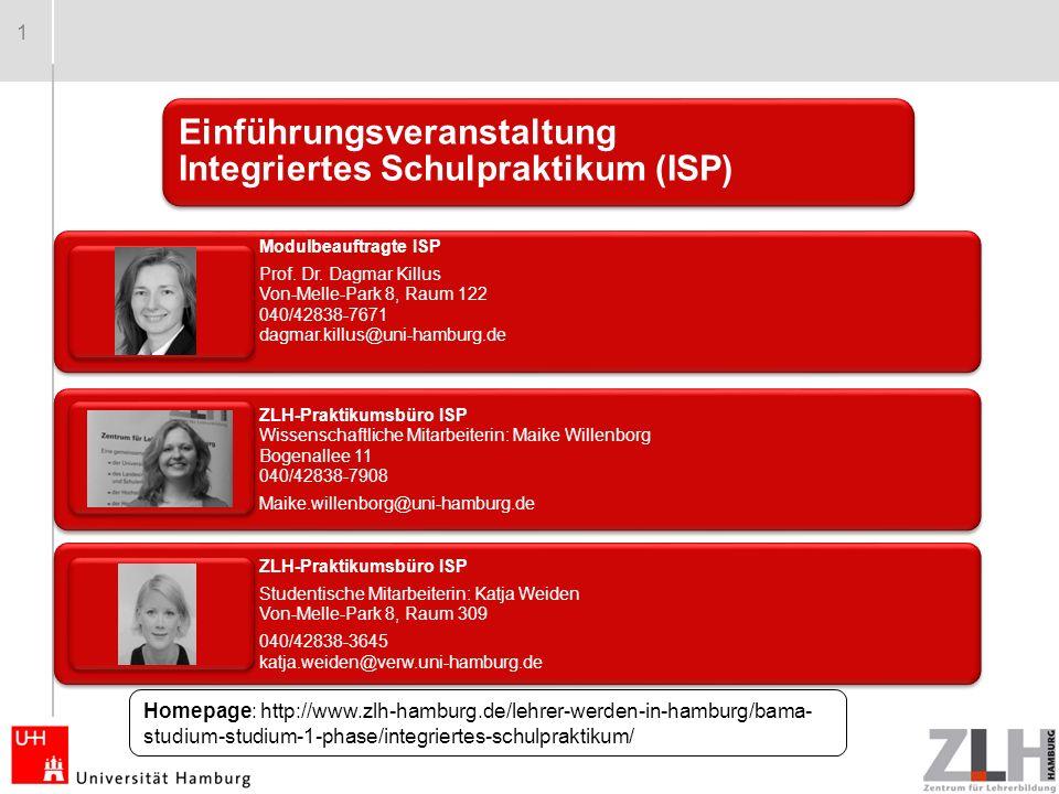 1 Einführungsveranstaltung Integriertes Schulpraktikum (ISP) Modulbeauftragte ISP Prof.