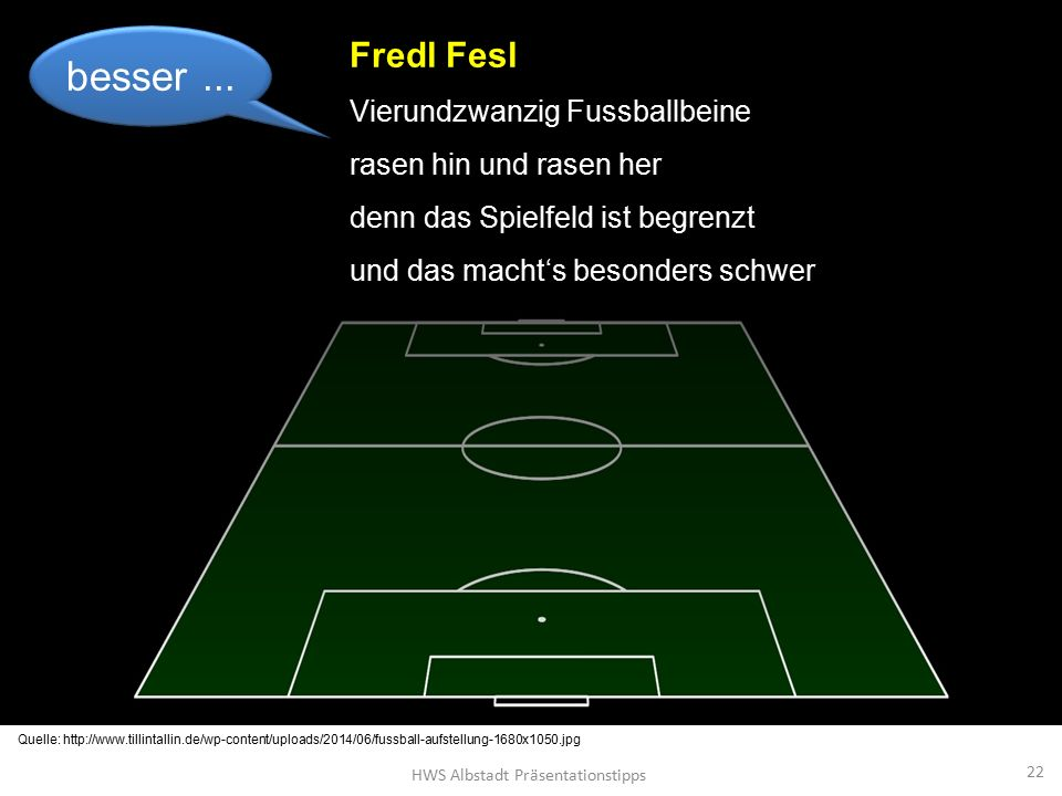 HWS Albstadt Präsentationstipps 22 Fredl Fesl Vierundzwanzig Fussballbeine rasen hin und rasen her denn das Spielfeld ist begrenzt und das macht's besonders schwer besser...