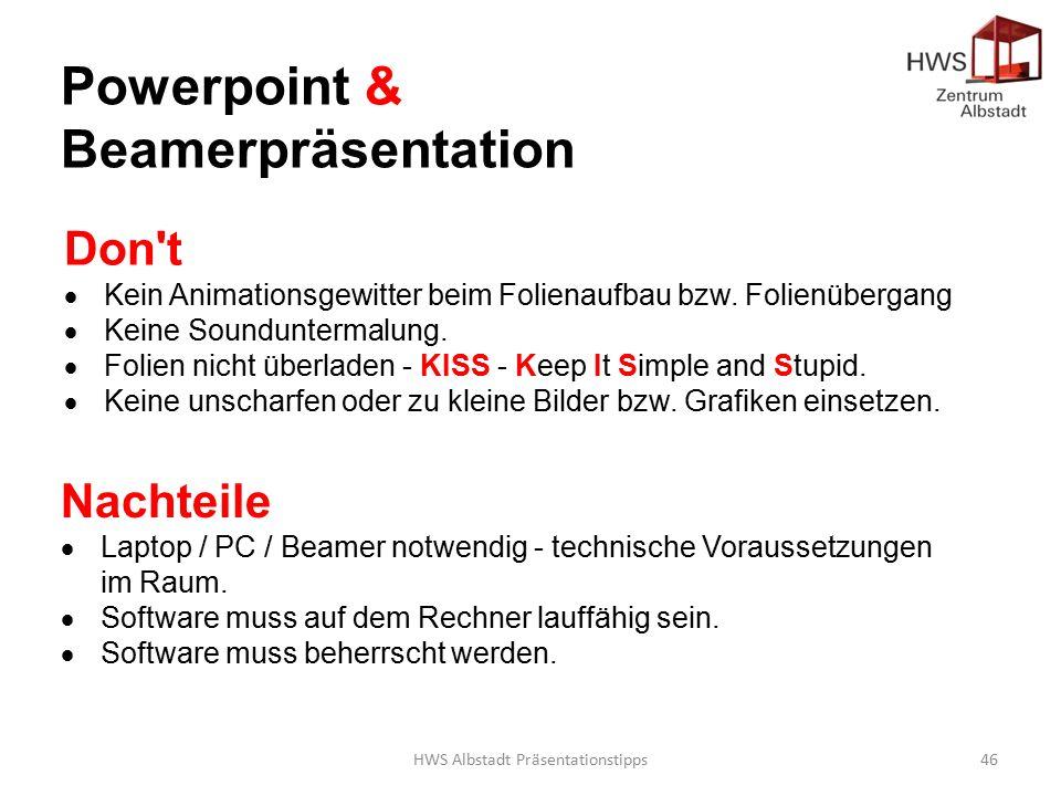 HWS Albstadt Präsentationstipps46 Don t  Kein Animationsgewitter beim Folienaufbau bzw.