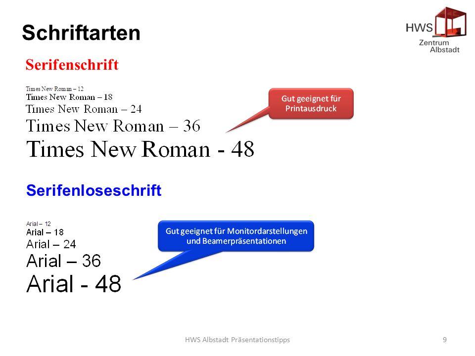 HWS Albstadt Präsentationstipps9 Schriftarten Serifenschrift Serifenloseschrift