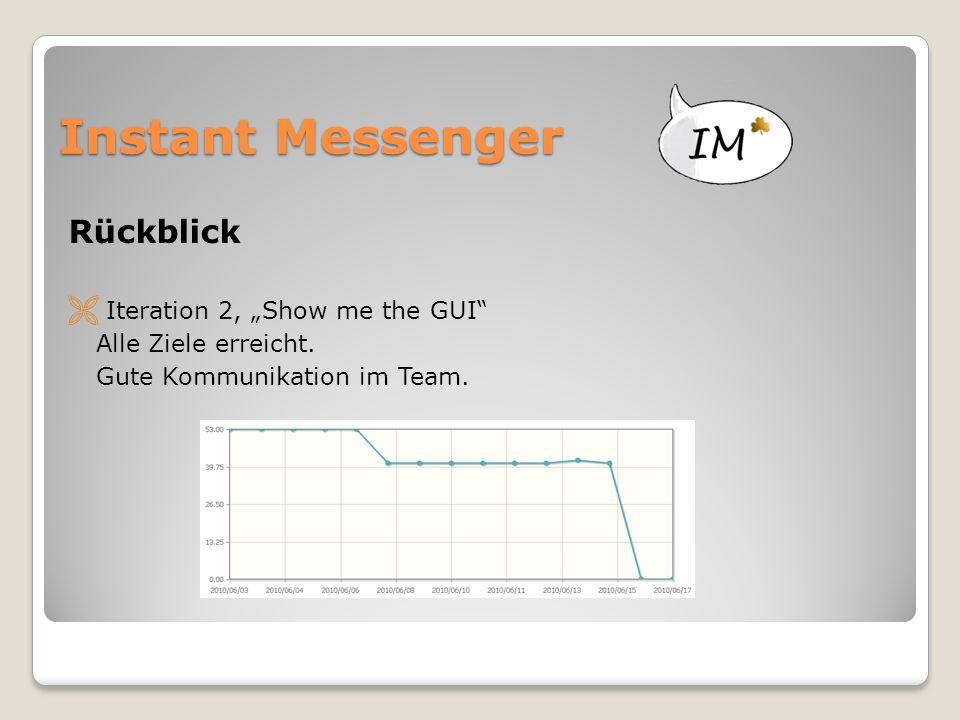 """Instant Messenger Rückblick  Iteration 2, """"Show me the GUI"""" Alle Ziele erreicht. Gute Kommunikation im Team."""