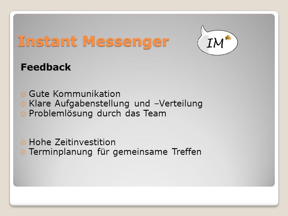 Instant Messenger Feedback Gute Kommunikation Klare Aufgabenstellung und –Verteilung Problemlösung durch das Team  Hohe Zeitinvestition  Terminplanung für gemeinsame Treffen