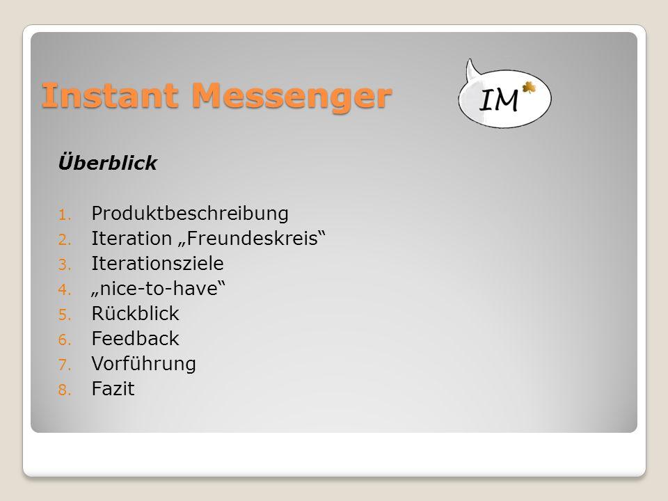 """Instant Messenger Überblick 1. Produktbeschreibung 2. Iteration """"Freundeskreis"""" 3. Iterationsziele 4. """"nice-to-have"""" 5. Rückblick 6. Feedback 7. Vorfü"""