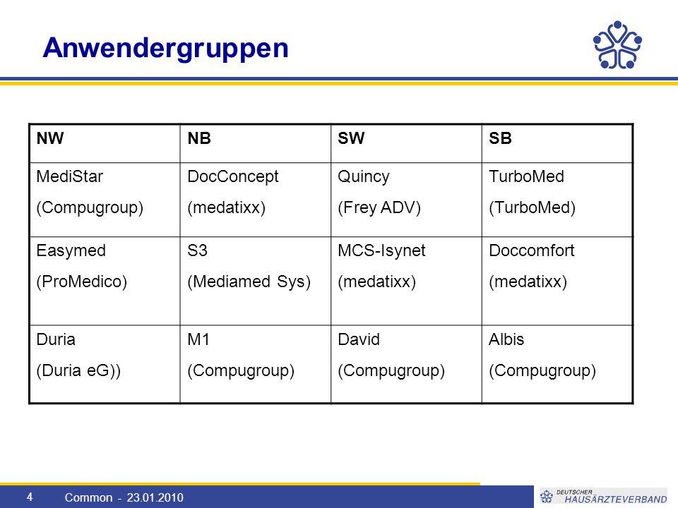 5 Einteilung der Sprecher Common - 23.01.2010 NWNBSWSB MediStar (???) DocConcept (???) Quincy (Frank Braun) TurboMed (J.