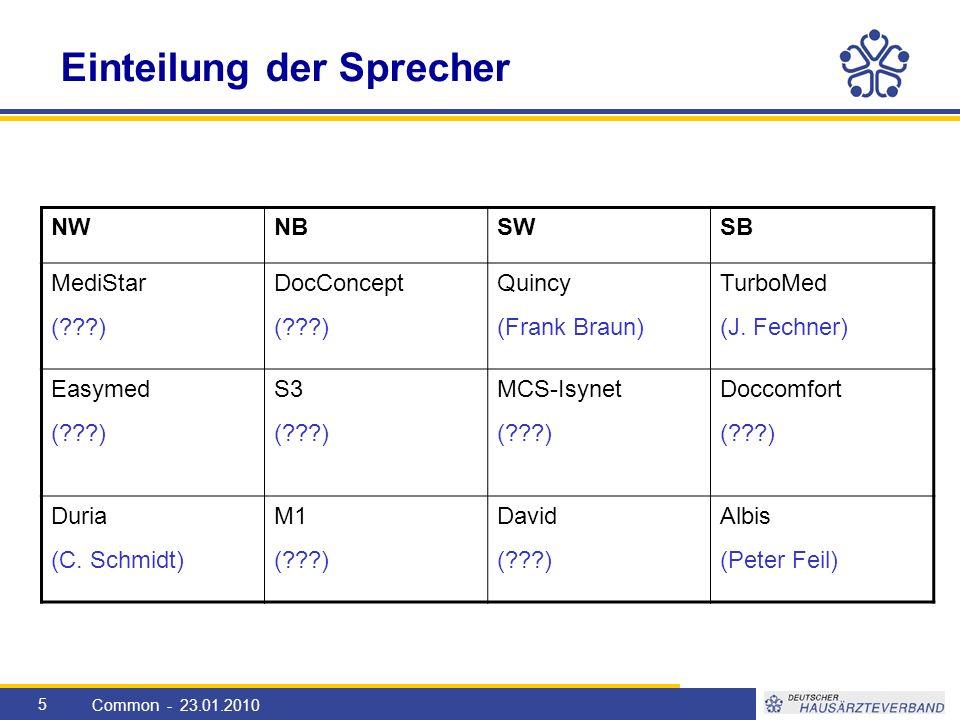 5 Einteilung der Sprecher Common - 23.01.2010 NWNBSWSB MediStar ( ) DocConcept ( ) Quincy (Frank Braun) TurboMed (J.