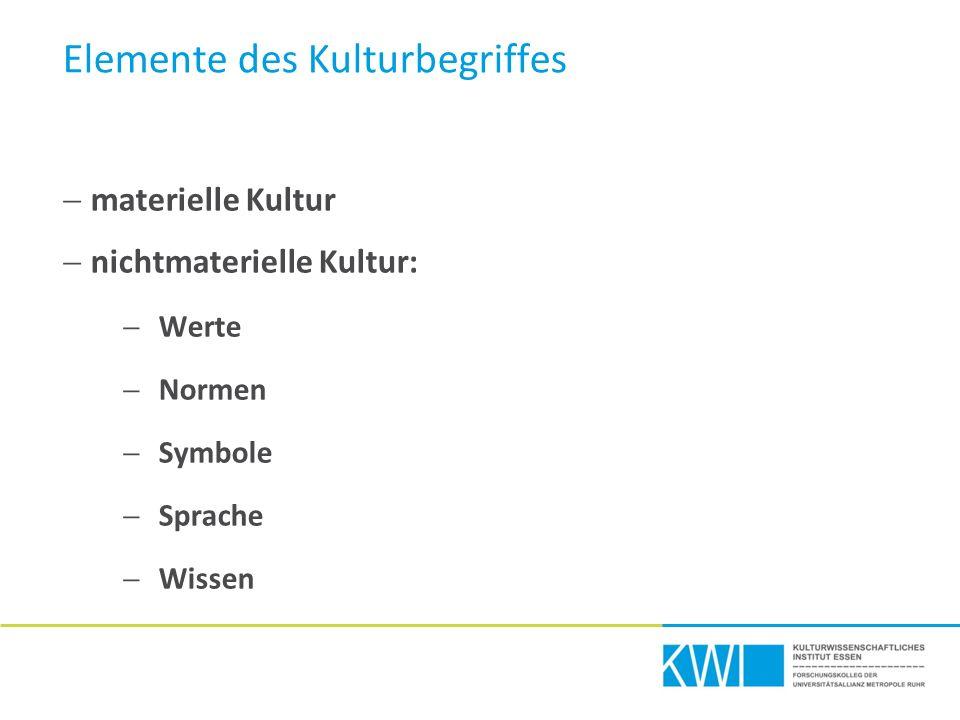 Elemente des Kulturbegriffes  materielle Kultur  nichtmaterielle Kultur:  Werte  Normen  Symbole  Sprache  Wissen