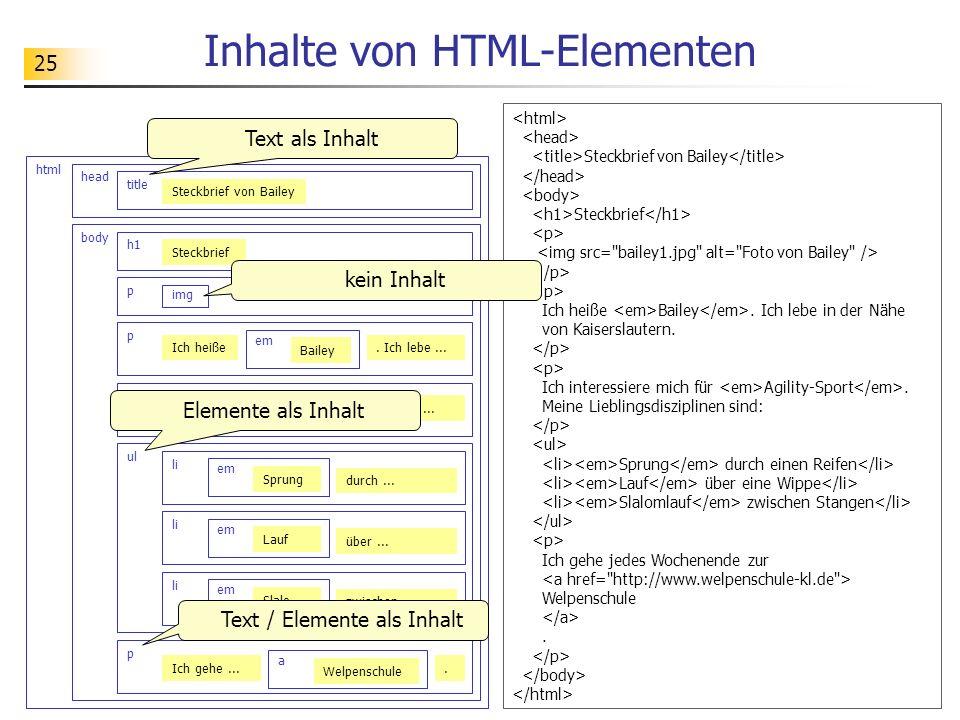 25 Inhalte von HTML-Elementen html head title Steckbrief von Bailey body h1 p img p Ich heiße em Bailey ul li. Ich lebe... p Ich int... em Agilit....