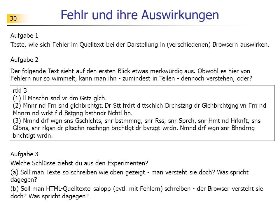 30 Fehlr und ihre Auswirkungen Aufgabe 1 Teste, wie sich Fehler im Quelltext bei der Darstellung in (verschiedenen) Browsern auswirken.