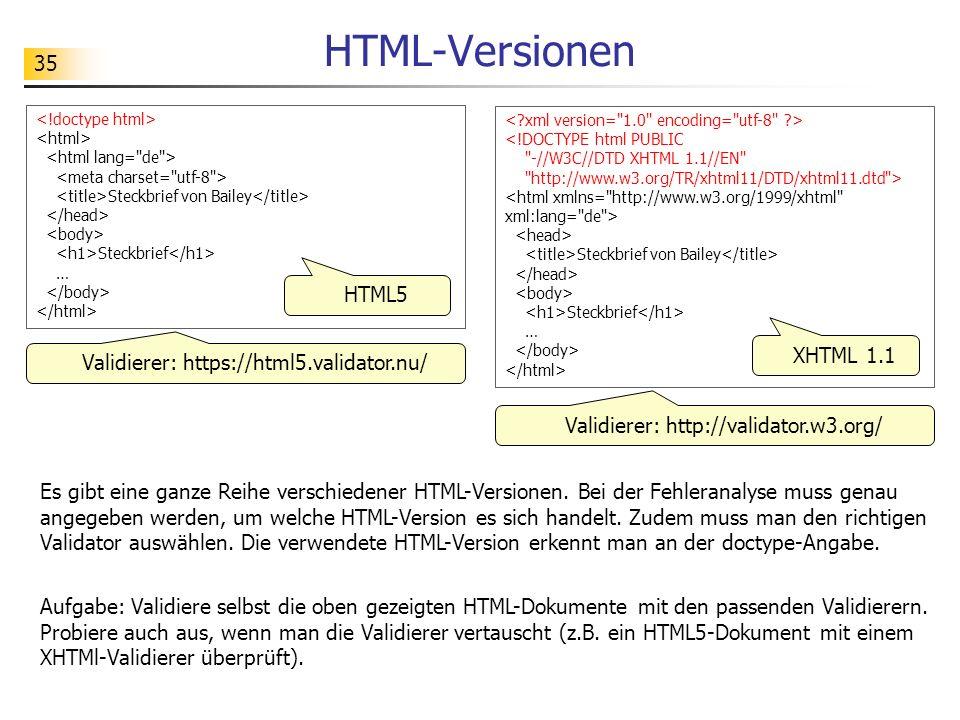 35 HTML-Versionen Es gibt eine ganze Reihe verschiedener HTML-Versionen. Bei der Fehleranalyse muss genau angegeben werden, um welche HTML-Version es