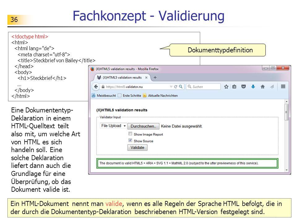 36 Fachkonzept - Validierung Steckbrief von Bailey Steckbrief … Dokumenttypdefinition Ein HTML-Dokument nennt man valide, wenn es alle Regeln der Sprache HTML befolgt, die in der durch die Dokumententyp-Deklaration beschriebenen HTML-Version festgelegt sind.
